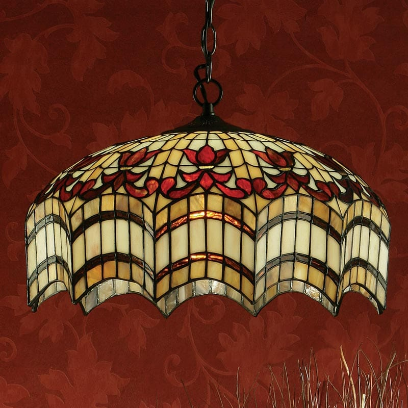 Red Stained Glass Hanging Light In Tiffany Style