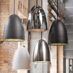 Pendant lights, metal pendants hung at different heights.