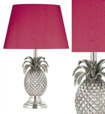 Pineapple Lamp with Pink Shade