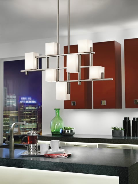 New York Lighting Collection CITY LIGHTS modern geometric 7lt linear chandelier in pewter with squared opal glass shades
