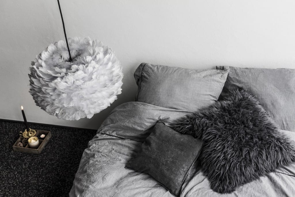 Feather Light shade in a bedroom set