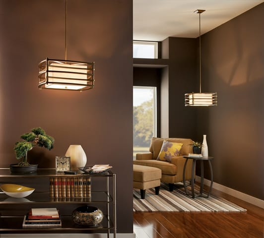 New York Lighting Collection MOXIE box Art Deco ceiling pendant with bronze bar frame & fabric inner shade (small)