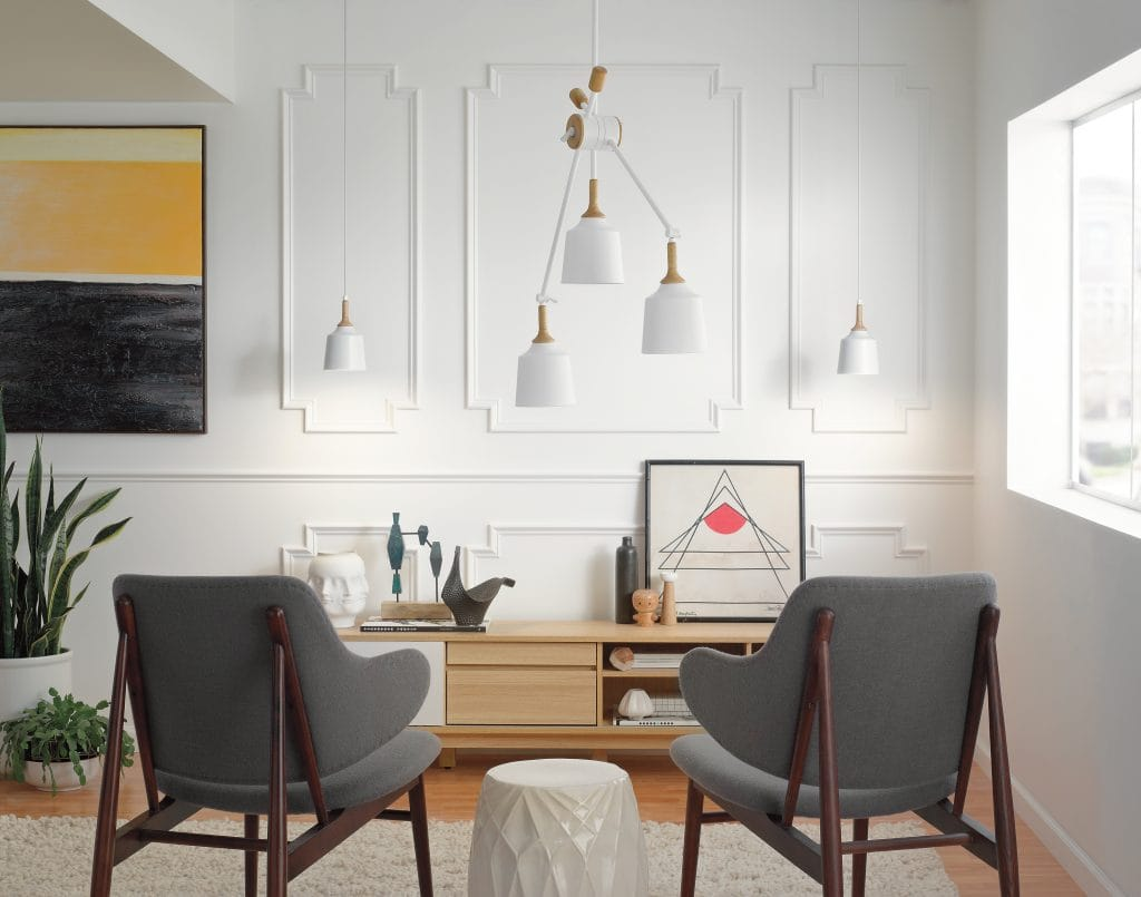 New York Lighting Collection DANIKA 3 light mid century modern ceiling pendant in white with wooden accent
