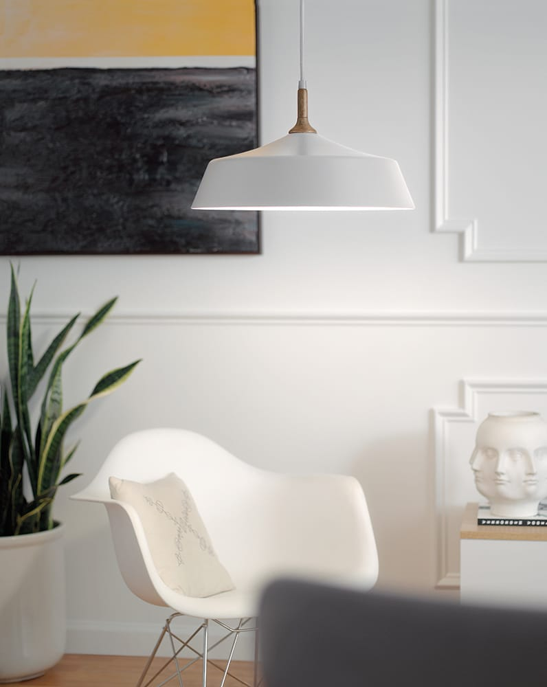 New York Lighting Collection DANIKA mid century modern white ceiling pendant with wooden accent
