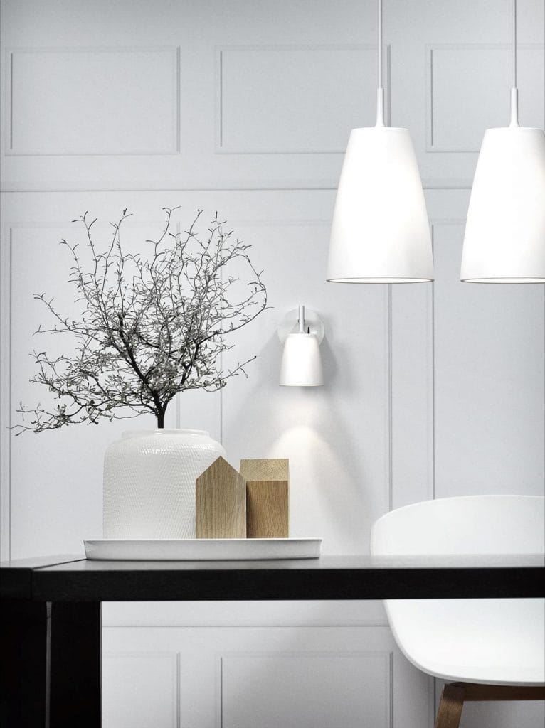 Design For The People LUNA 18 modern white sanded glass ceiling pendant