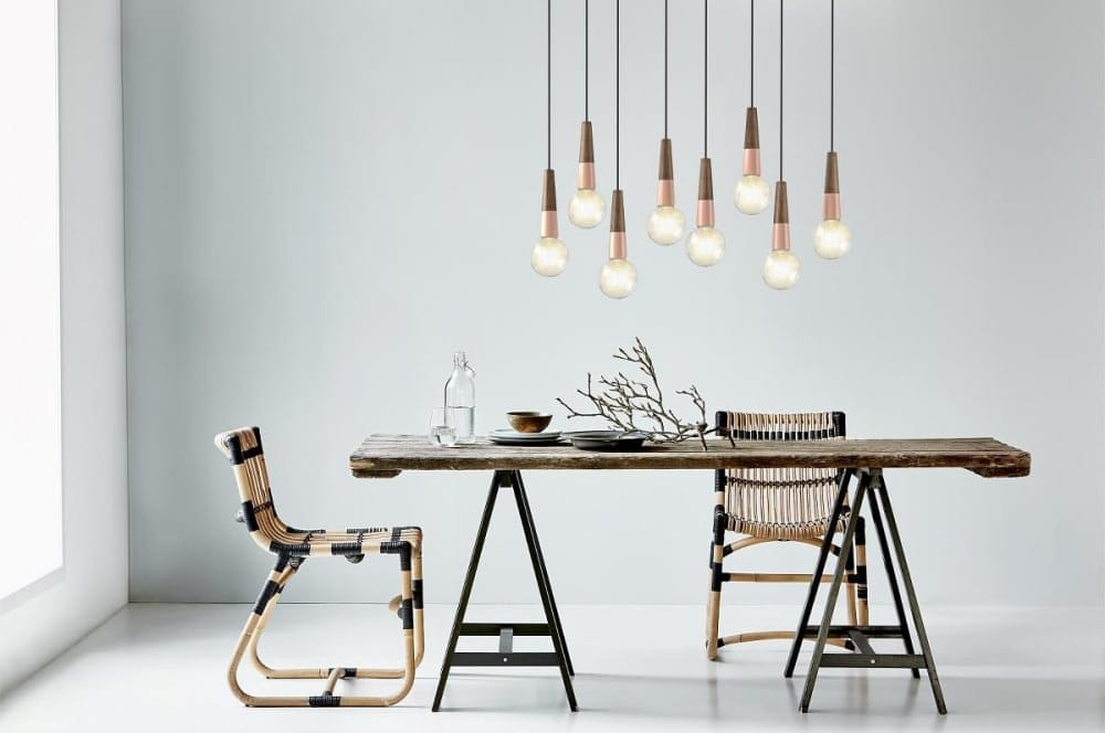 Design For The People STRIPPED walnut wooden effect and copper ceiling pendant suspension