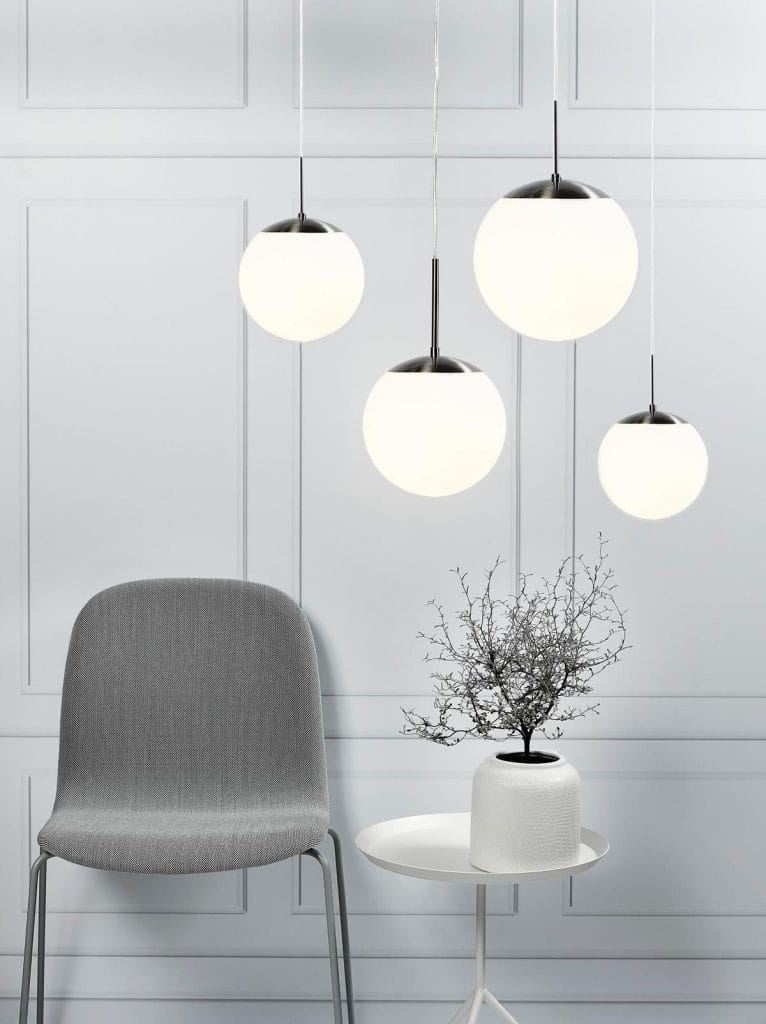 Cafe Opal Glass Globe Ceiling Pendants