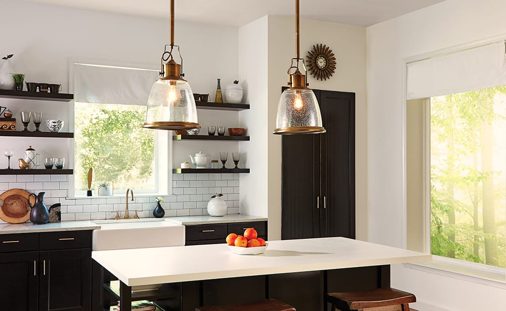HOBSON industrial aged brass pendant with seeded glass (large)