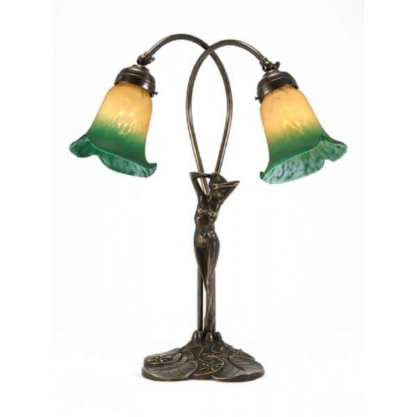 Classic British Lighting ELIZABETTA Art Nouveau female figure antique brass table lamp