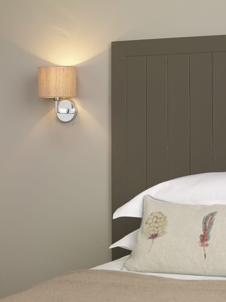 The Lighting Book FERRARA Polished chrome hotel style wall light complete with taupe silk shade.