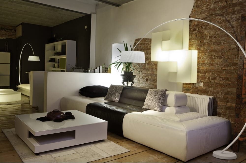 Floor lamps get a standing ovation the lighting company grok hoop large overhanging floor lamp in white with shade aloadofball Gallery