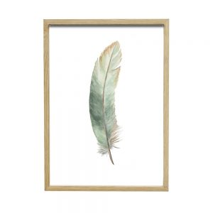 Hübsch Home NATURAL oak picture frame with feather picture