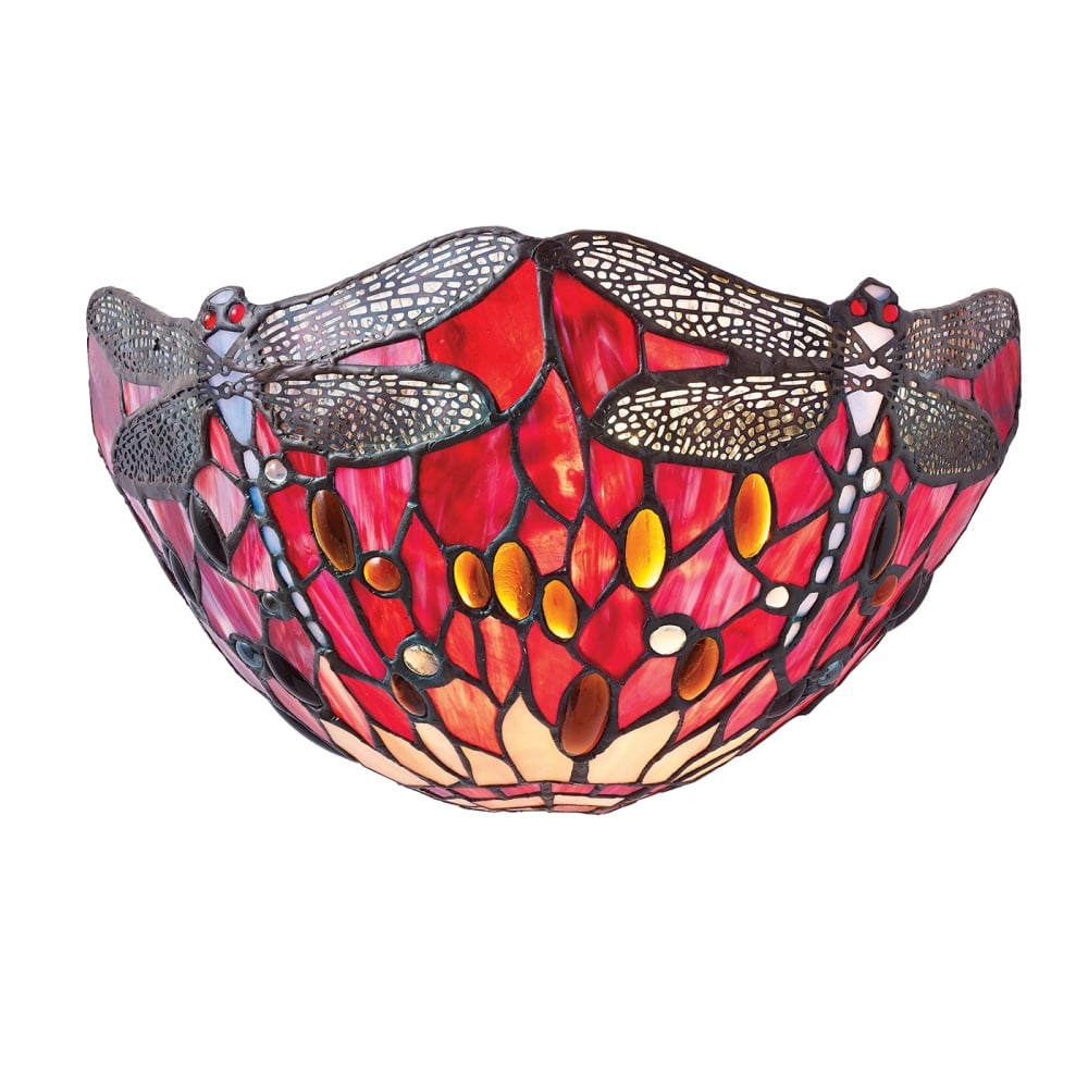 Interiors 1900 RED DRAGONFLY Tiffany wall washer wall light