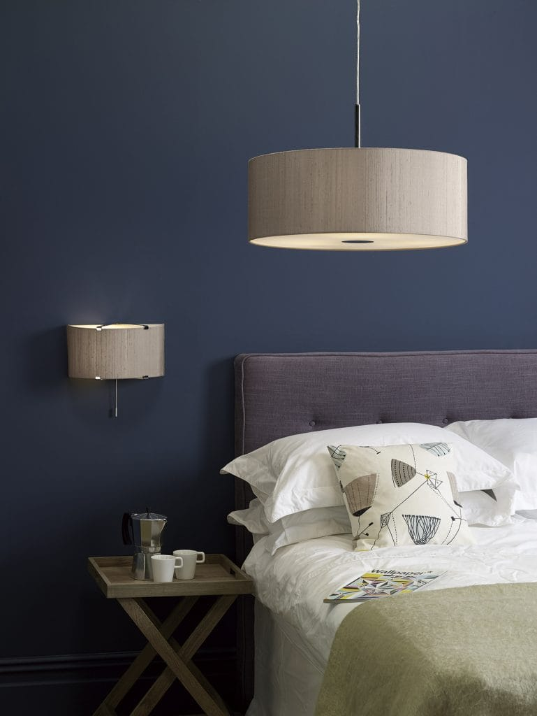 The Lighting Book KENNEDY wall washer light in chrome with silk shade