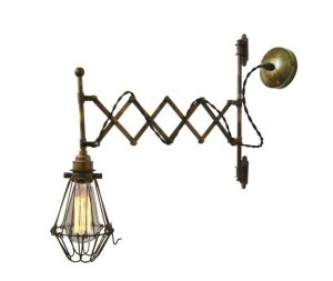 Monaghan Lighting LONN adjustable scissor cage wall light in antique brass