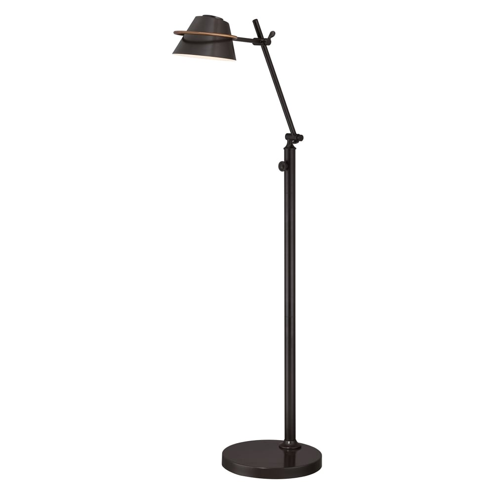 SPENCER retro angle adjustable LED floor lamp in dark bronze finish