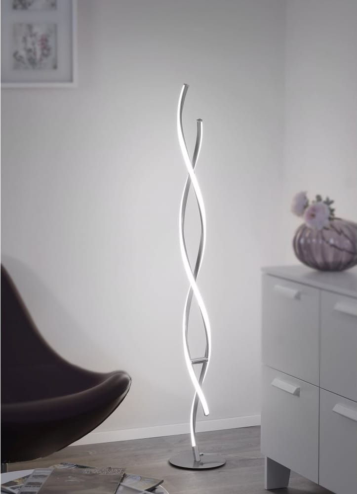 Smart Light POLINA contemporary LED floor lamp in brushed steel
