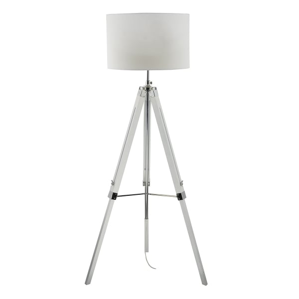 Floor lamps get a standing ovation the lighting company for Tripod floor lamp silver base white shade