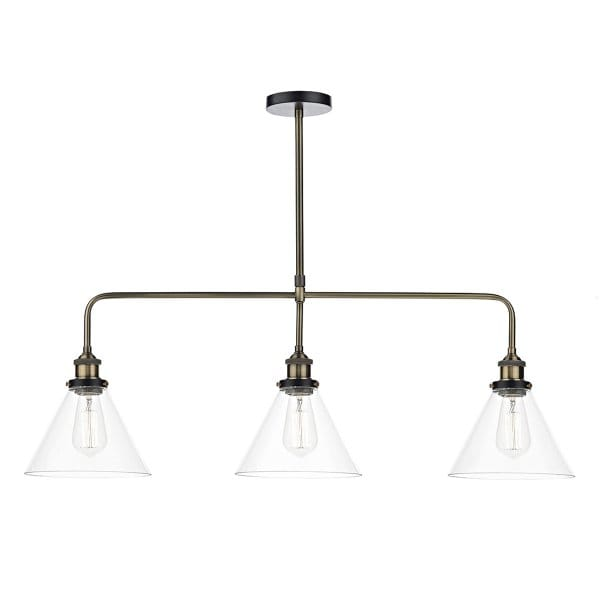 the-lighting-book-ray-vintage-antique-brass-3lt-ceiling-bar-pendant-with-clear-tapered-glass-shades-p5520-11033_image