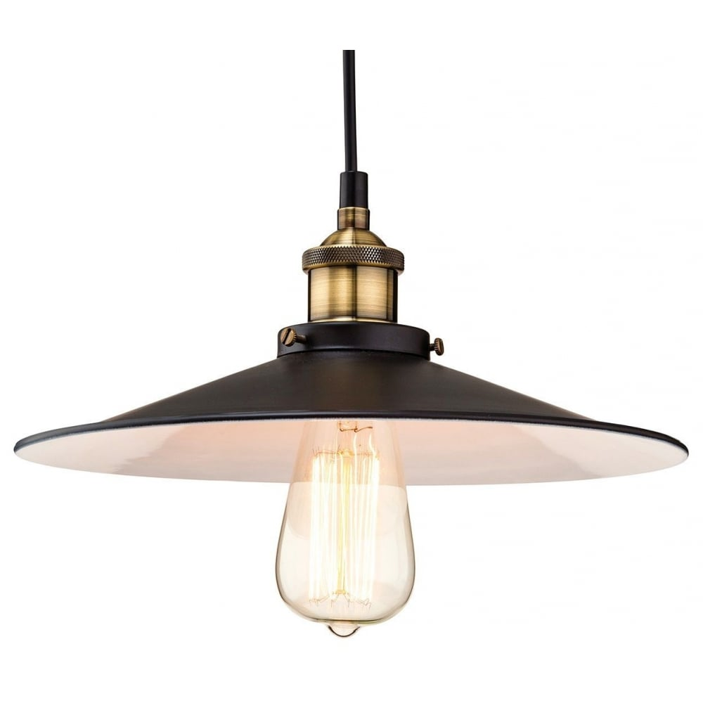 The Lighting Collection EMPIRE industrial vintage style black and antique brass ceiling pendant