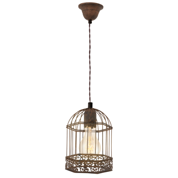 Vintage Collection CAGE rustic ceiling pendant light in patina brown finish