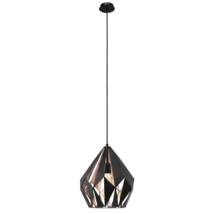 GEOMETRIC contemporary ceiling pendant with black outer and copper inner