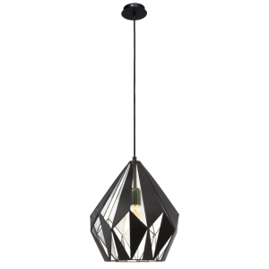 GEOMETRIC contemporary ceiling pendant with black outer and silver inner