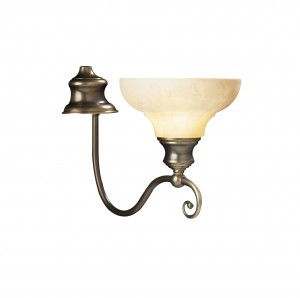 Wall light aged brass bracket and cream glass shade.