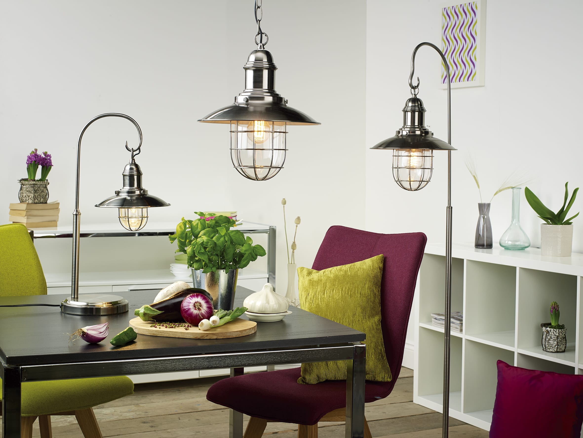Caged Pendant light fittings on trend lighting.