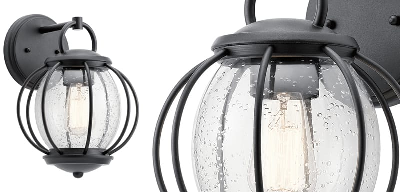 outdoor carriage lantern with seeded glass