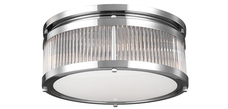 chrome and glass tube flush bathroom ceiling light