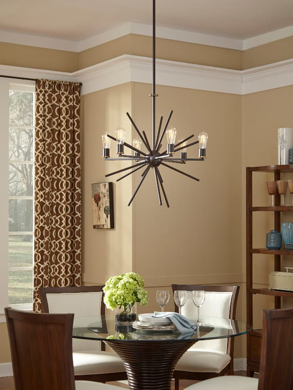 The Lighting Company Quoizel  CARNEGIE industrial vintage style 8lt chandelier pendant in a bronze finish