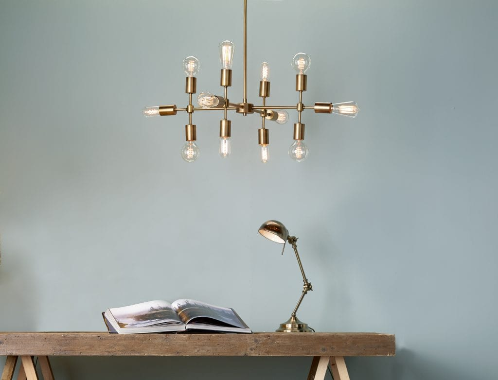 The Lighting Book  CODE Multi Arm Light Fitting in old gold. A linear grid shape with midcentury charm, highly sculptural by The Lighting Company UK