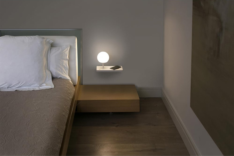 The Lighting Company UK; FARO Lighting  NIKO modern LED wall light with wireless charge shelf (right)