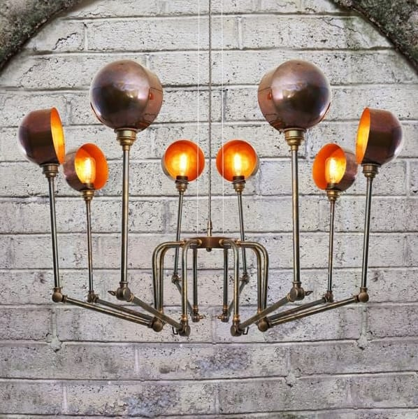 Monaghan Lighting  SAN JOSE modern industrial style 8 light chandelier in antique brass by The Lighting Company