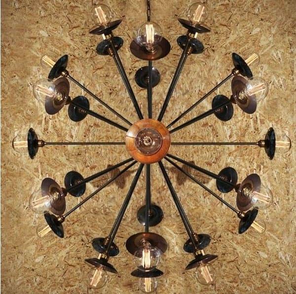Monaghan Lighting  TOKYO sputnik chandelier in antique brass by The Lighting Company