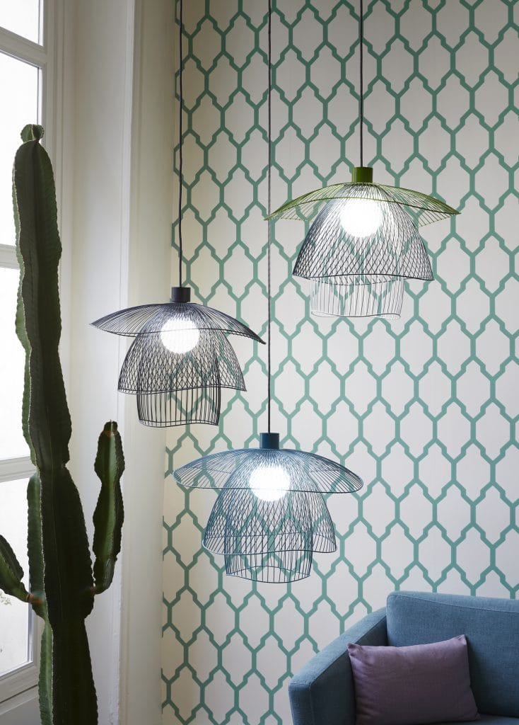 Nouvelle Collection  PAPILLON grey, white and green mesh ceiling pendant light (medium)