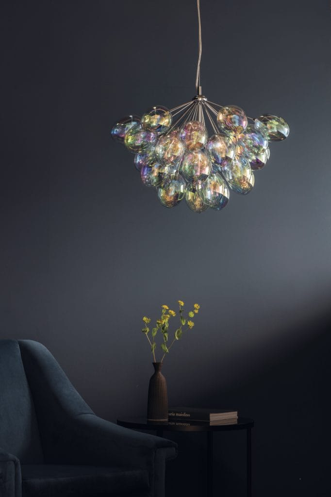 Project: Lighting  INFINITY 6 light iridescent glass ceiling pendant chandelier