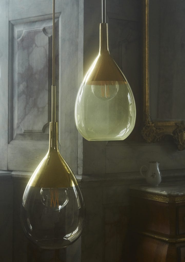 Copenhagen Glass Collection  LUTE green glass and gold pendant