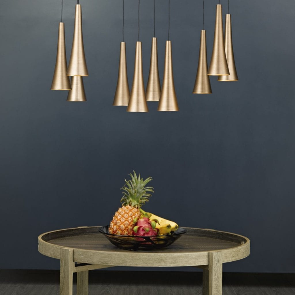 The Lighting Book  TROMBONE 10 light LED ceiling pendant cluster in brushed copper