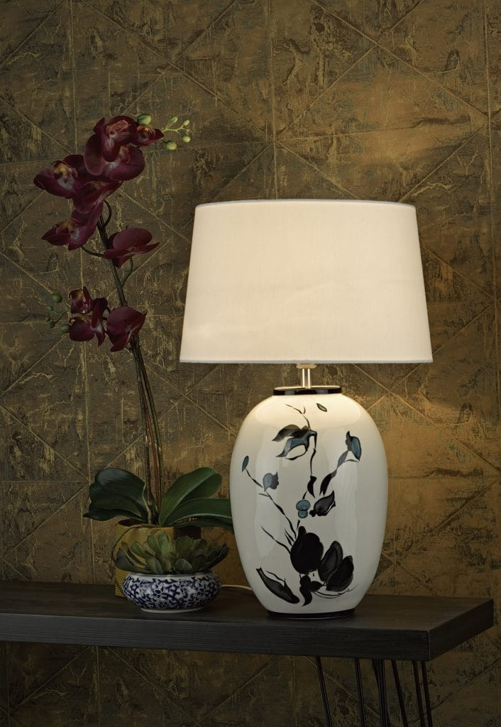 The Lighting Book  FIONN ceramic table lamp with floral detail and linen shade