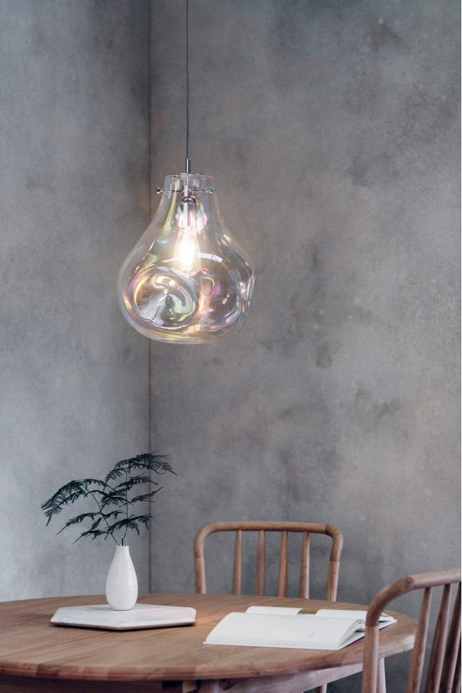 Project: Lighting  LAVA iridescent blown glass ceiling pendant light
