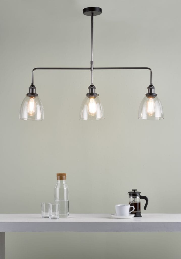 The Lighting Book  ARVIN 3 light pendant bar in antique chrome with clear glass shades