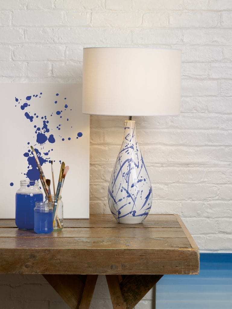 The Lighting Book  OLKA ceramic table lamp base in blue and white