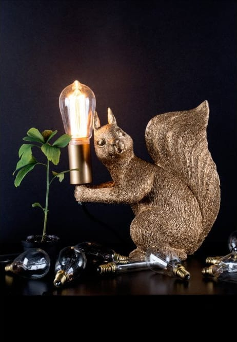 Lighting Company Globen Lighting  PIFF squirrel table lamp in brass