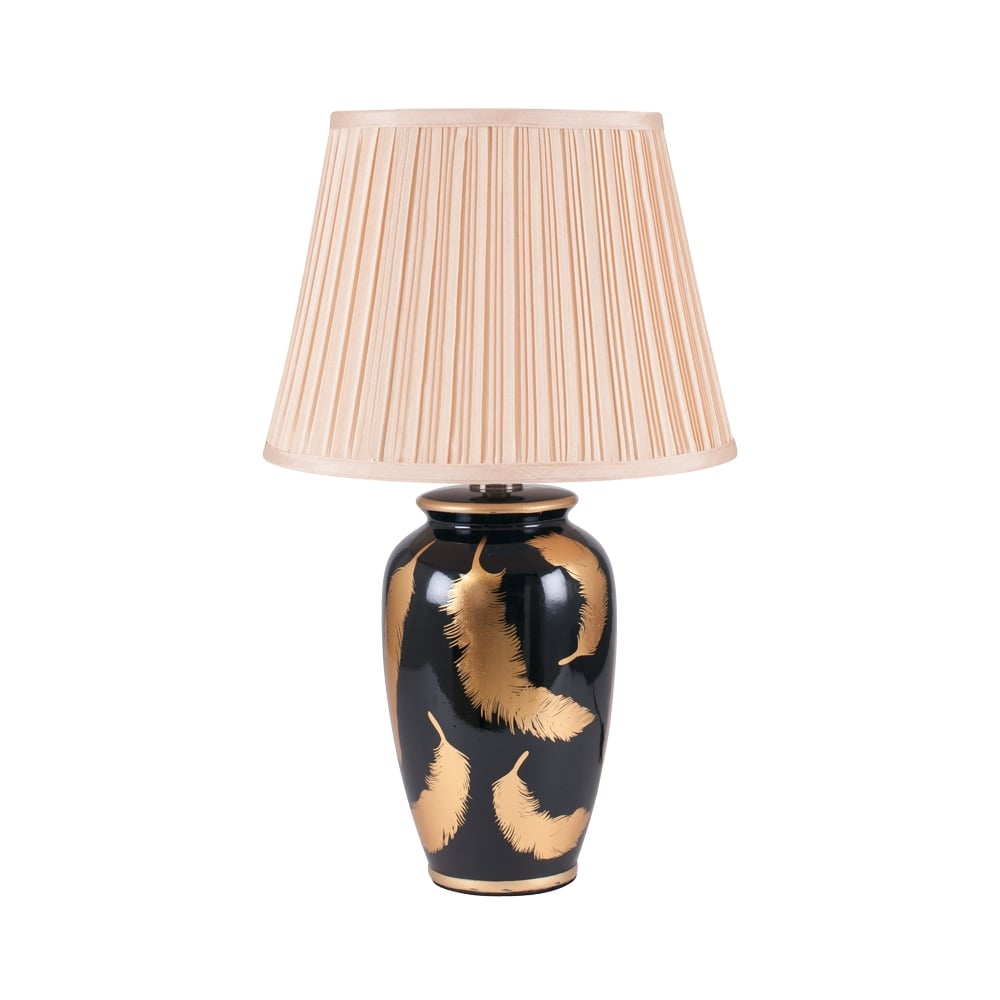 Eclectic  QUILL gold and black ceramic table lamp with feather pattern and shade