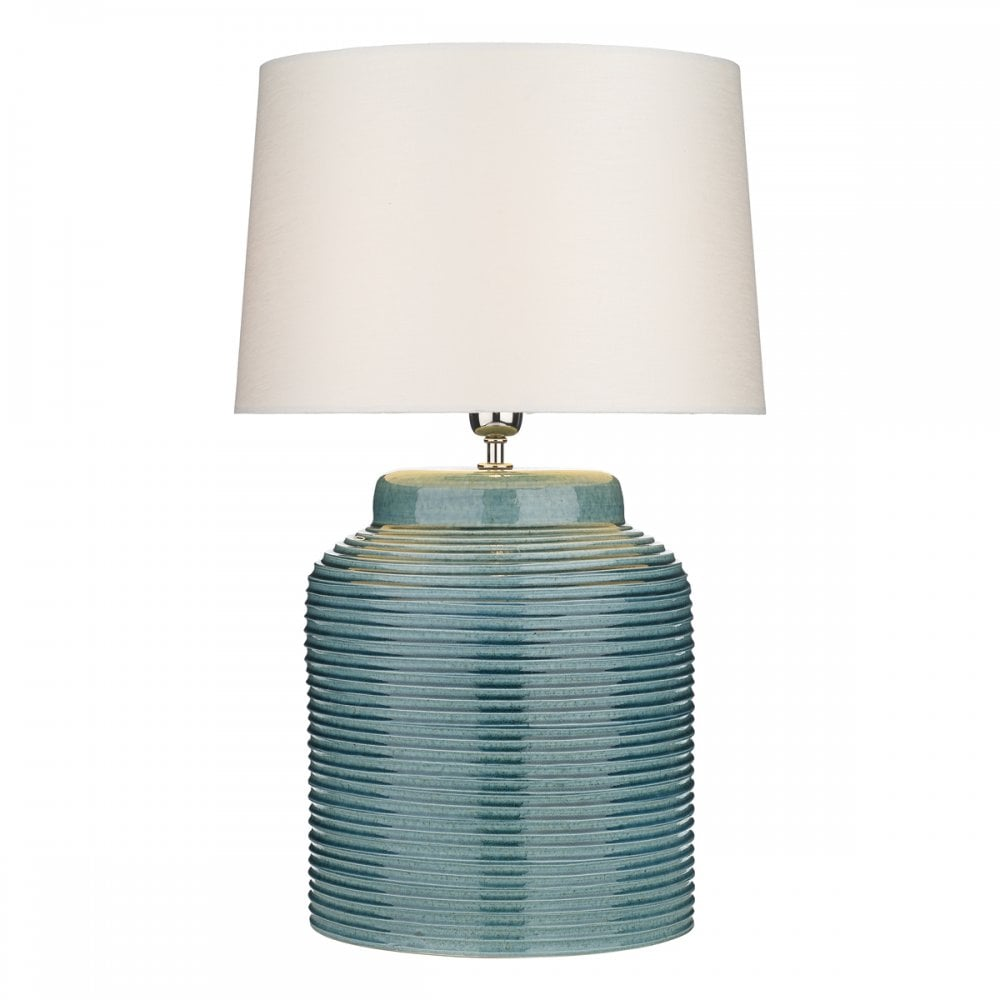The David Hunt Lighting Collection  TIDAL ribbed ceramic table lamp in blue petrol gloss finish with shade