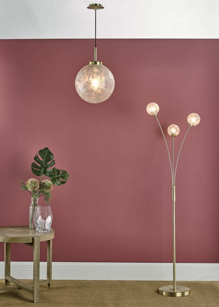 The Lighting Book Vol: 2 AVARI Ceiling Pendant Satin Brass And Clear Frosted Ice Glass Globe Shade