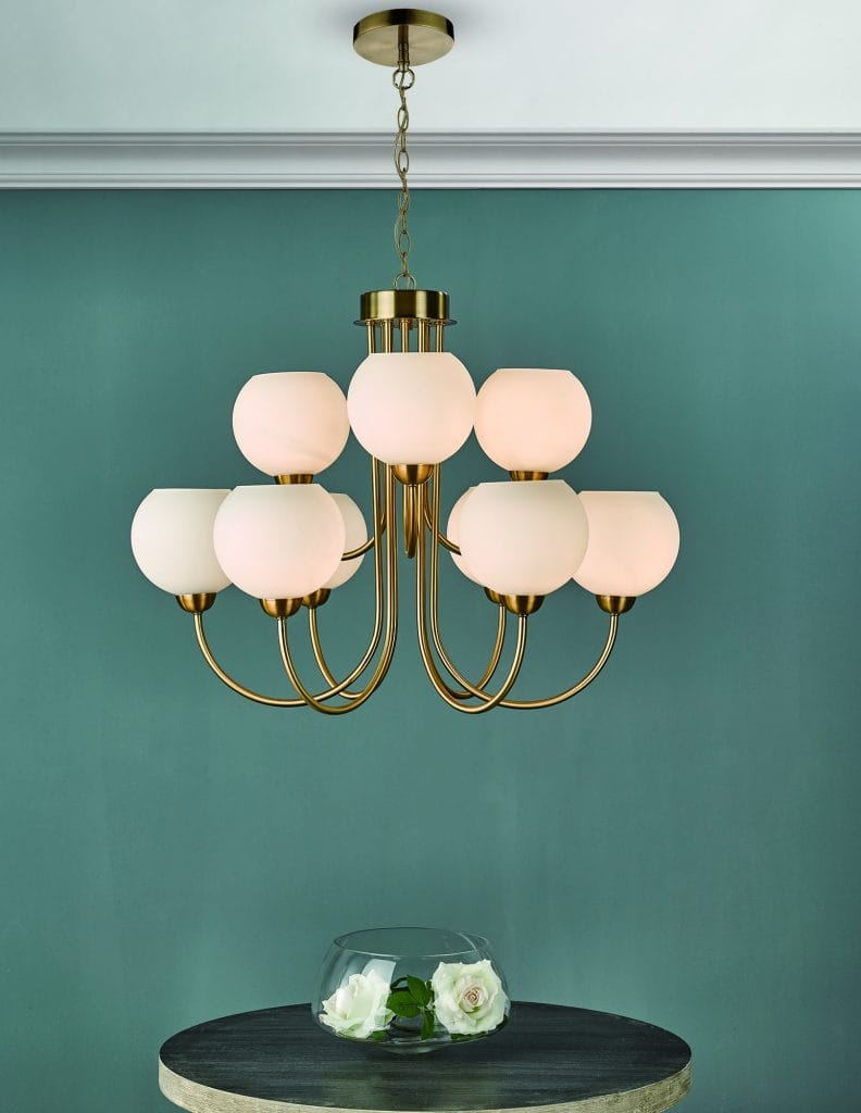 The Lighting Book Vol: 2 INDRA 9 light natural brass chandelier with opal glass globe shades