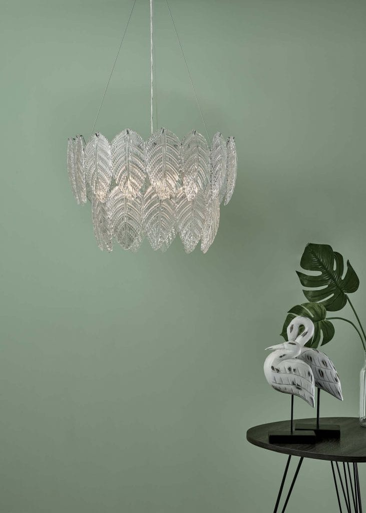 The Lighting Book Vol: 2 PHILLIPA Glass Ceiling Light Pendant Textured Glass And Polished Chrome